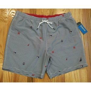 "NAUTICA MEN SAILBOAT SWIM 7"" STRIPE TRUNKS SHORTS"